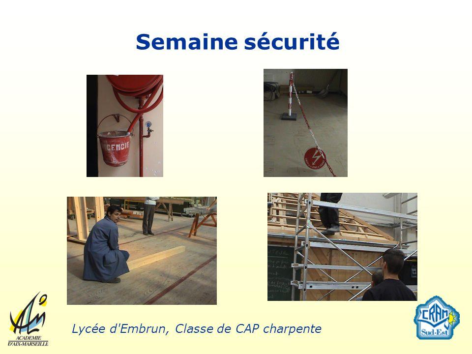 Semaine sécurité Lycée d'Embrun, Classe de CAP charpente