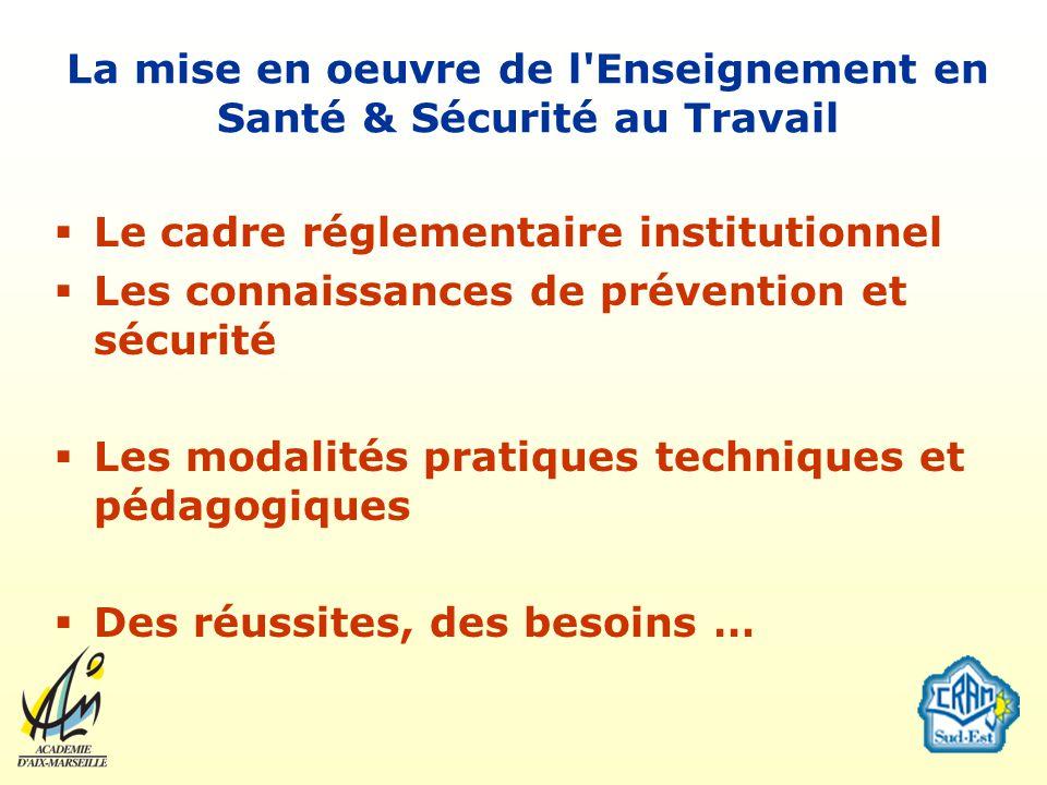 La mise en oeuvre de l'Enseignement en Santé & Sécurité au Travail Le cadre réglementaire institutionnel Les connaissances de prévention et sécurité L
