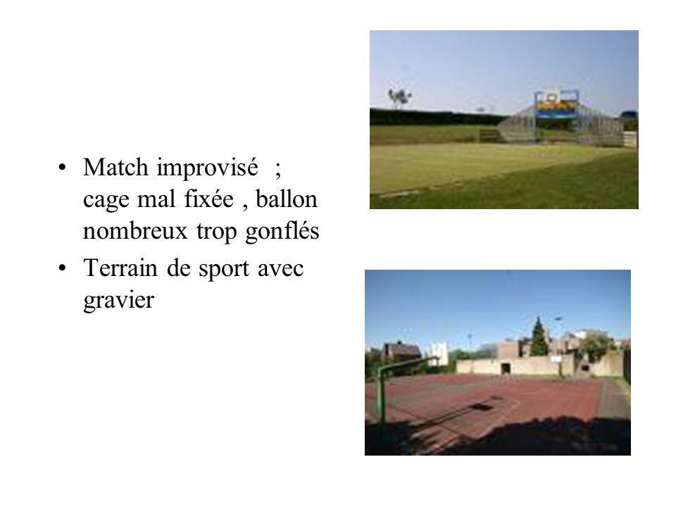 Match improvisé ; cage mal fixée, ballon nombreux trop gonflés Terrain de sport avec gravier