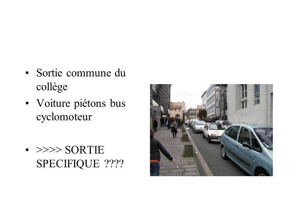 Sortie commune du collège Voiture piétons bus cyclomoteur >>>> SORTIE SPECIFIQUE ????