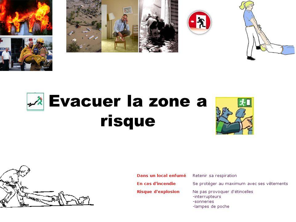 Evacuer la zone a risque Dans un local enfuméRetenir sa respiration En cas d'incendieSe protéger au maximum avec ses vêtements Risque d'explosion Ne p