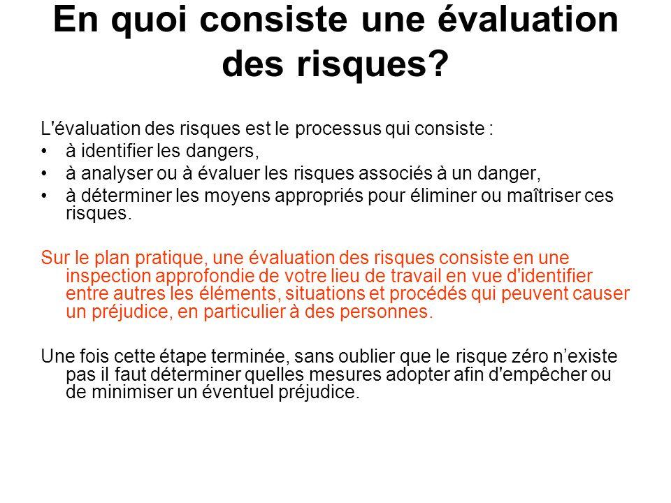 En quoi consiste une évaluation des risques? L'évaluation des risques est le processus qui consiste : à identifier les dangers, à analyser ou à évalue