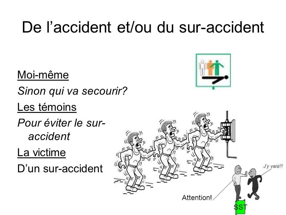 De laccident et/ou du sur-accident Moi-même Sinon qui va secourir? Les témoins Pour éviter le sur- accident La victime Dun sur-accident Attention! Jy