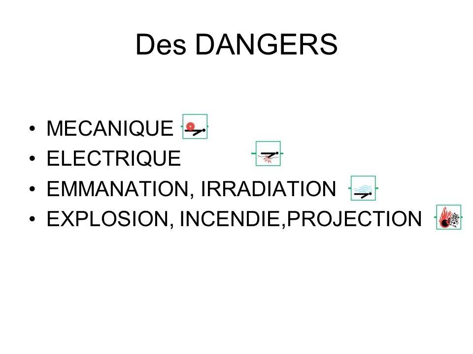 Des DANGERS MECANIQUE ELECTRIQUE EMMANATION, IRRADIATION EXPLOSION, INCENDIE,PROJECTION