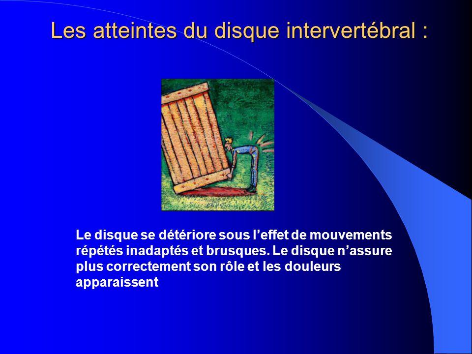 Les atteintes du disque intervertébral : Le disque se détériore sous leffet de mouvements répétés inadaptés et brusques. Le disque nassure plus correc