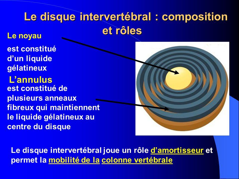 Le disque intervertébral : composition et rôles Le disque intervertébral : composition et rôles Le noyau est constitué dun liquide gélatineux Lannulus