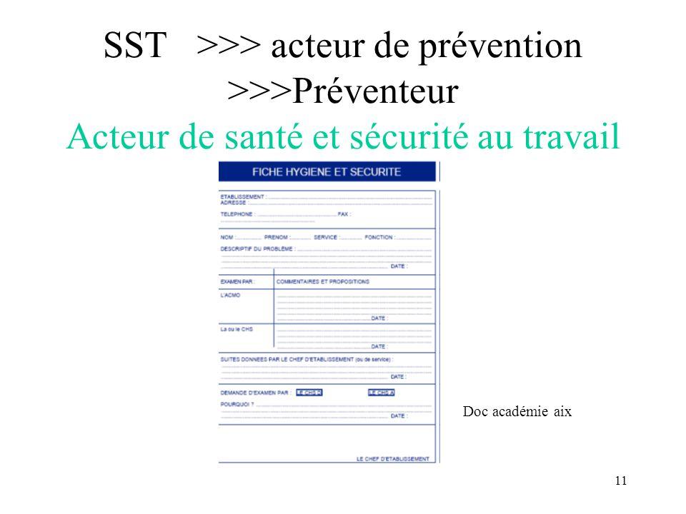 11 SST >>> acteur de prévention >>>Préventeur Acteur de santé et sécurité au travail Doc académie aix