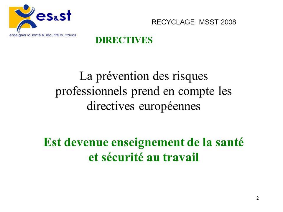 2 RECYCLAGE MSST 2008 La prévention des risques professionnels prend en compte les directives européennes Est devenue enseignement de la santé et sécu