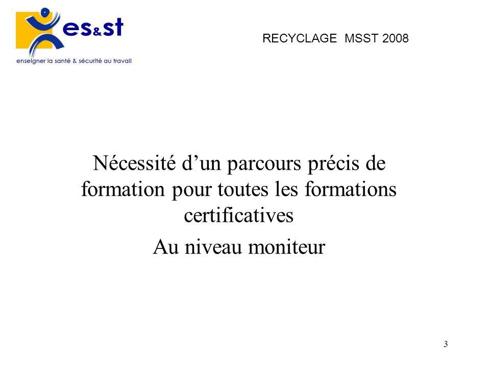 3 RECYCLAGE MSST 2008 Nécessité dun parcours précis de formation pour toutes les formations certificatives Au niveau moniteur