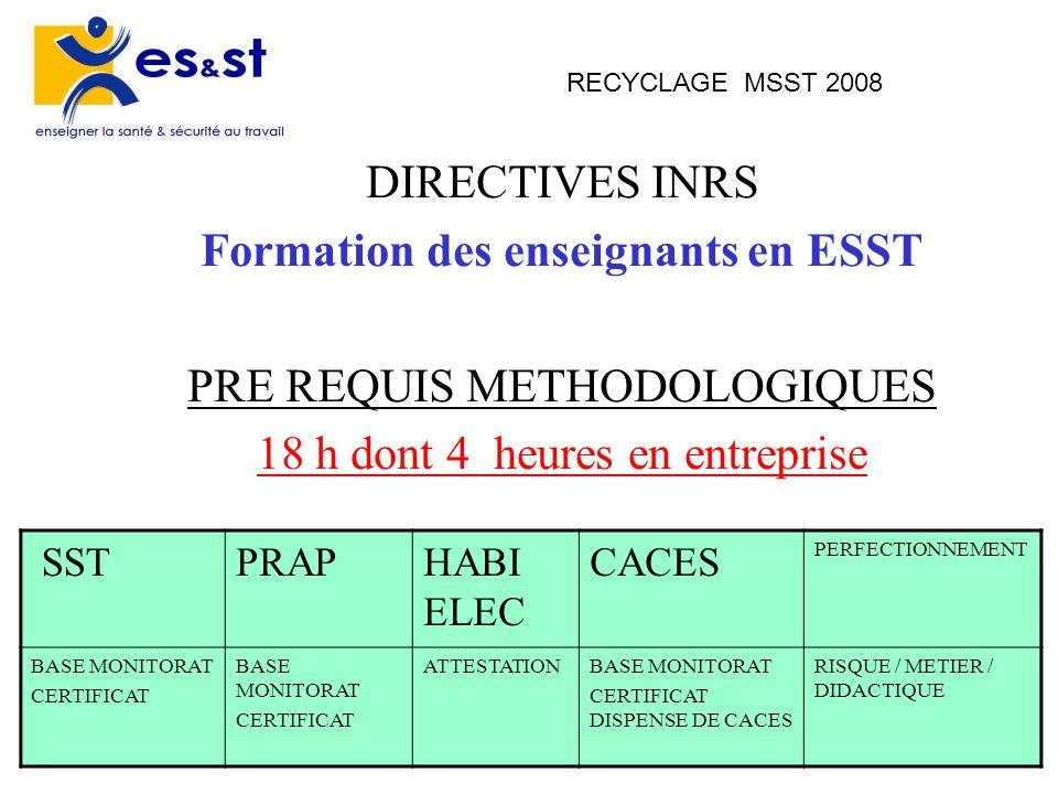 4 RECYCLAGE MSST 2008 DIRECTIVES INRS Formation des enseignants en ESST PRE REQUIS METHODOLOGIQUES 18 h dont 4 heures en entreprise SSTPRAPHABI ELEC C