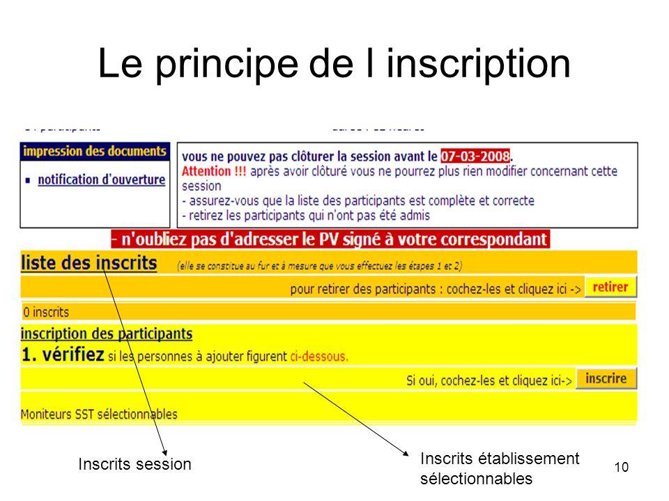 10 Le principe de l inscription Inscrits session Inscrits établissement sélectionnables