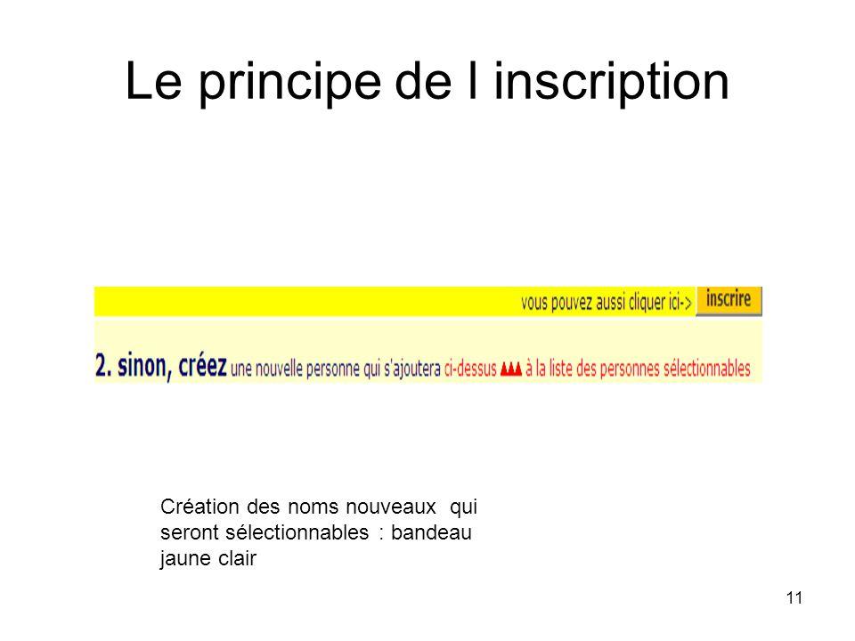 11 Le principe de l inscription Création des noms nouveaux qui seront sélectionnables : bandeau jaune clair