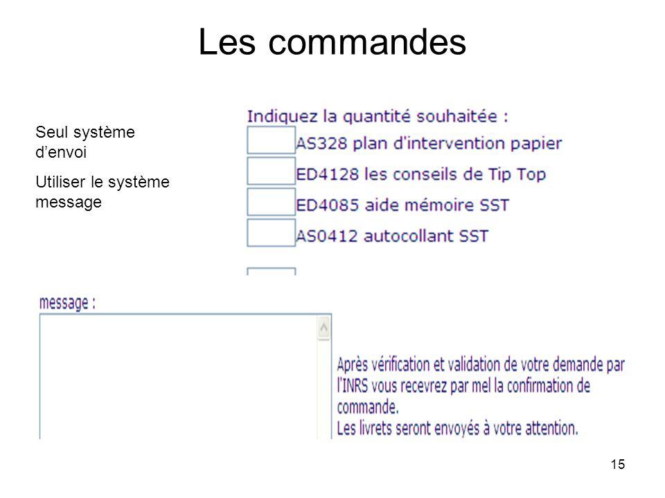 15 Les commandes Seul système denvoi Utiliser le système message