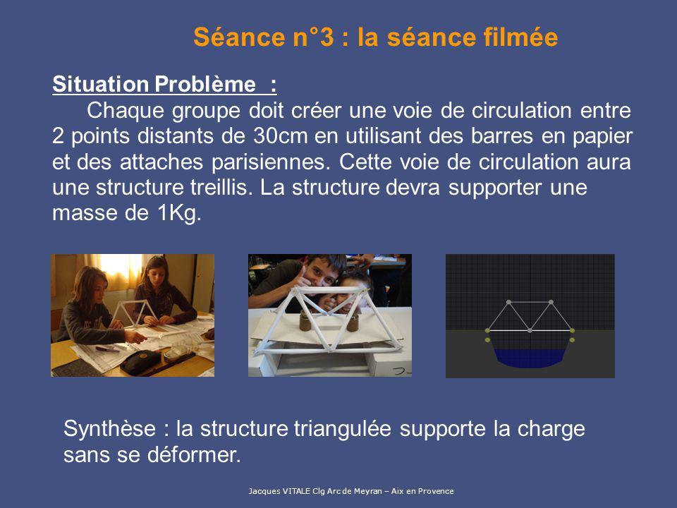 Jacques VITALE Clg Arc de Meyran – Aix en Provence La séance n°4 Sur poste informatique, les élèves doivent observer des photos de ponts et les classer en fonction des solutions techniques Synthèse : Il existe plusieurs solutions techniques qui permettent de soutenir le tablier dun pont