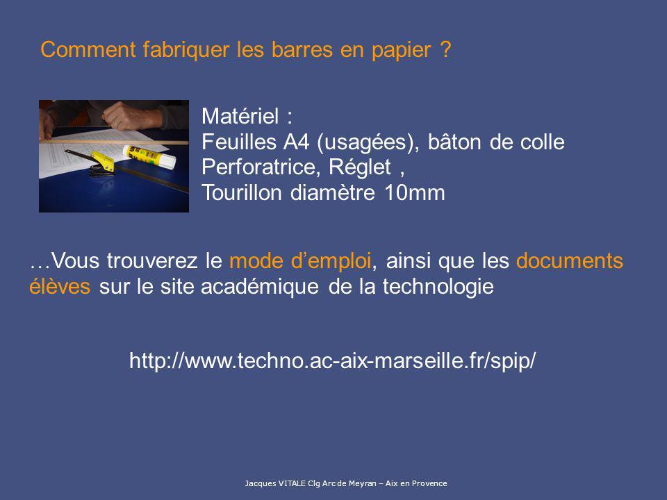 Jacques VITALE Clg Arc de Meyran – Aix en Provence Comment fabriquer les barres en papier ? … Vous trouverez le mode demploi, ainsi que les documents