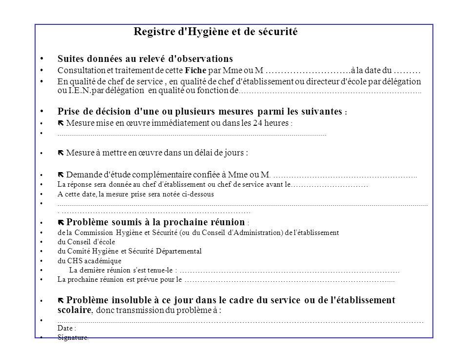 Registre d'Hygiène et de sécurité Suites données au relevé d'observations Consultation et traitement de cette Fiche par Mme ou M ……………………….à la date d