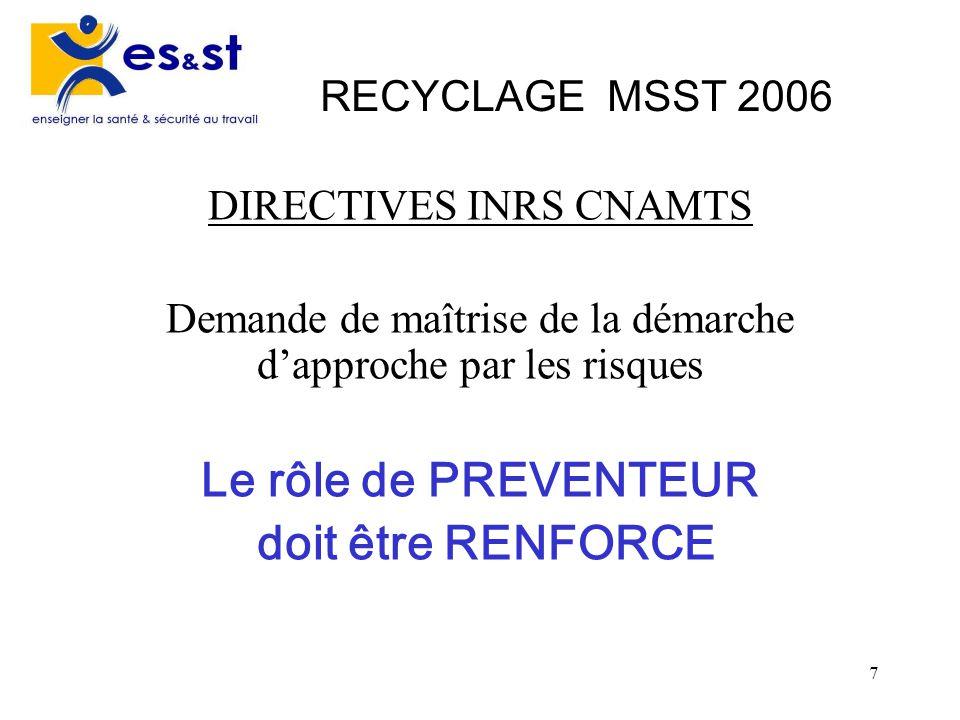 7 RECYCLAGE MSST 2006 DIRECTIVES INRS CNAMTS Demande de maîtrise de la démarche dapproche par les risques Le rôle de PREVENTEUR doit être RENFORCE