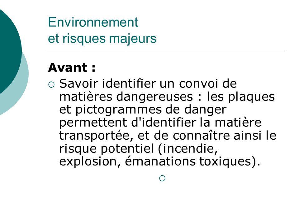Avant : Savoir identifier un convoi de matières dangereuses : les plaques et pictogrammes de danger permettent d'identifier la matière transportée, et