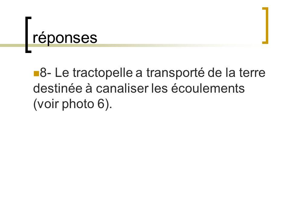 réponses 8- Le tractopelle a transporté de la terre destinée à canaliser les écoulements (voir photo 6).