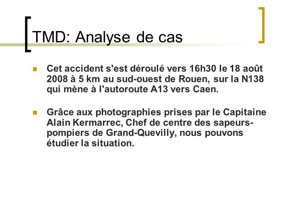 TMD: Analyse de cas Cet accident s est déroulé vers 16h30 le 18 août 2008 à 5 km au sud-ouest de Rouen, sur la N138 qui mène à l autoroute A13 vers Caen.