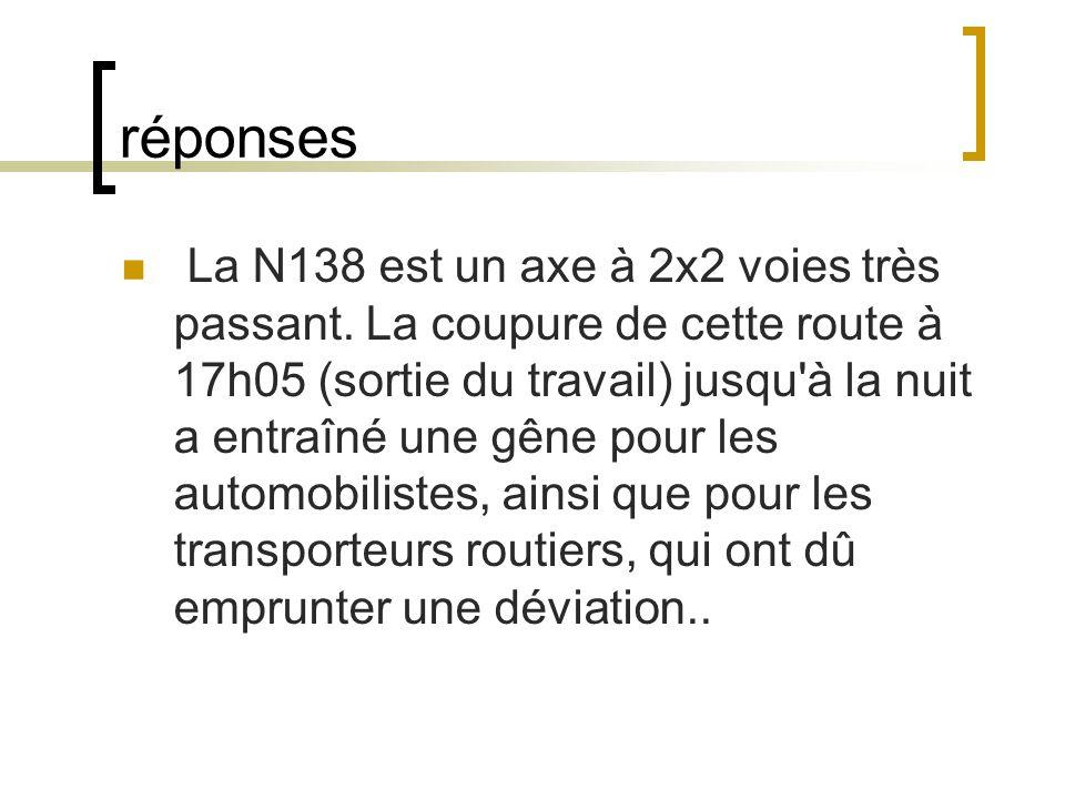 réponses La N138 est un axe à 2x2 voies très passant.