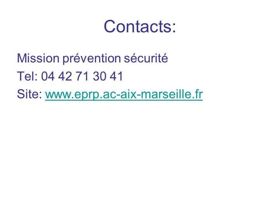 Contacts: Mission prévention sécurité Tel: 04 42 71 30 41 Site: www.eprp.ac-aix-marseille.frwww.eprp.ac-aix-marseille.fr