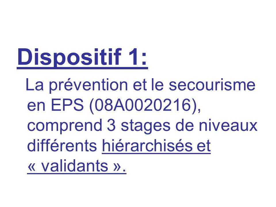 Dispositif 1: La prévention et le secourisme en EPS (08A0020216), comprend 3 stages de niveaux différents hiérarchisés et « validants ».