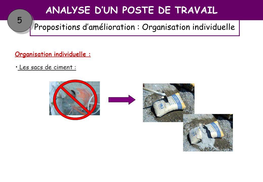 Propositions damélioration : Organisation individuelle ANALYSE DUN POSTE DE TRAVAIL 5 5 Sommaire Organisation individuelle : Ajout deau :
