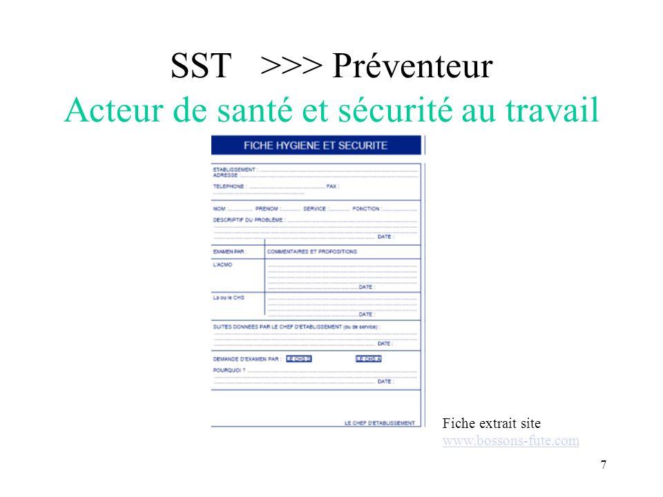 7 SST >>> Préventeur Acteur de santé et sécurité au travail Fiche extrait site www.bossons-fute.com www.bossons-fute.com