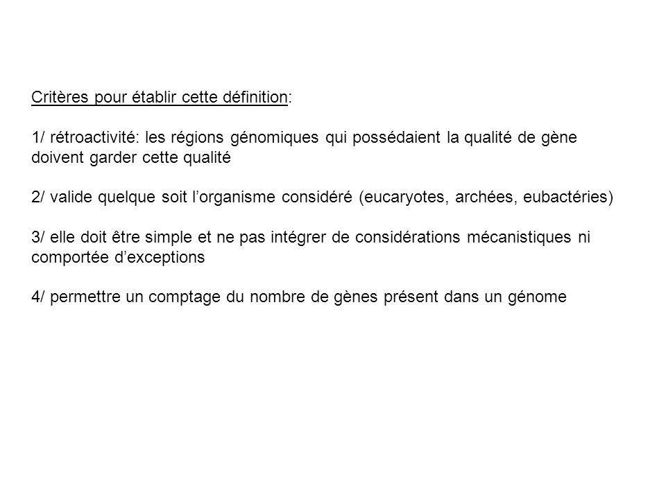 Critères pour établir cette définition: 1/ rétroactivité: les régions génomiques qui possédaient la qualité de gène doivent garder cette qualité 2/ va