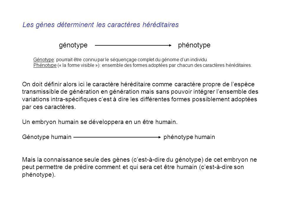 Les gènes déterminent les caractères héréditaires On doit définir alors ici le caractère héréditaire comme caractère propre de lespèce transmissible d