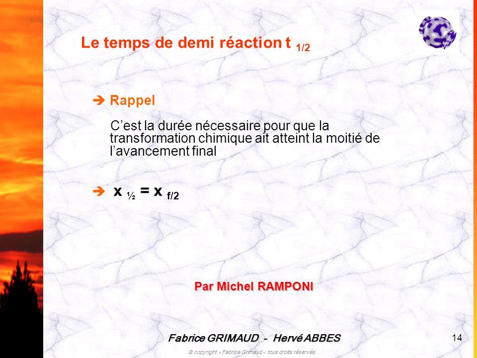 Fabrice GRIMAUD - Hervé ABBES © copyright - Fabrice Grimaud - tous droits réservés 14 Le temps de demi réaction t 1/2 Rappel Cest la durée nécessaire