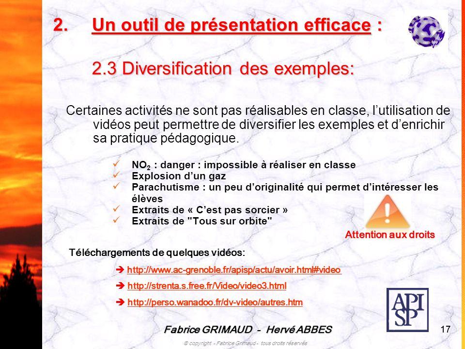 Fabrice GRIMAUD - Hervé ABBES © copyright - Fabrice Grimaud - tous droits réservés 17 Certaines activités ne sont pas réalisables en classe, lutilisat
