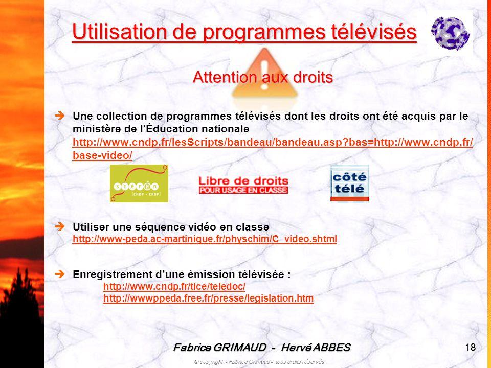 Fabrice GRIMAUD - Hervé ABBES © copyright - Fabrice Grimaud - tous droits réservés 18 Utilisation de programmes télévisés Une collection de programmes