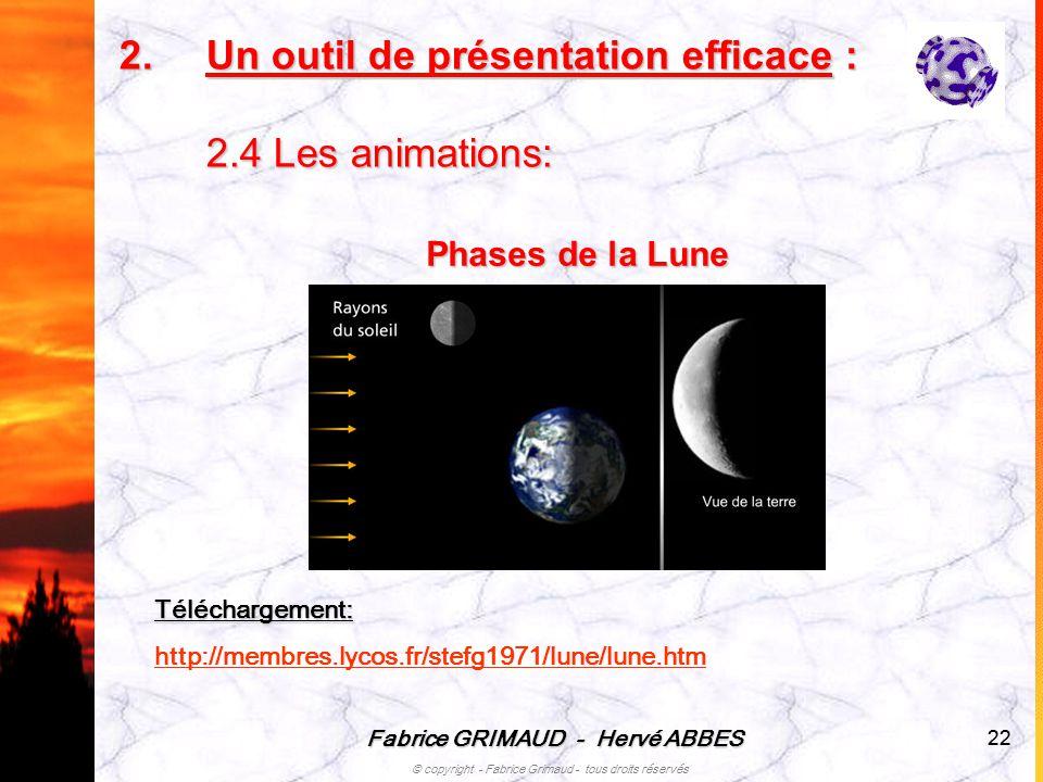 Fabrice GRIMAUD - Hervé ABBES © copyright - Fabrice Grimaud - tous droits réservés 22 Phases de la Lune 2.U n outil de présentation efficace : 2.4 Les