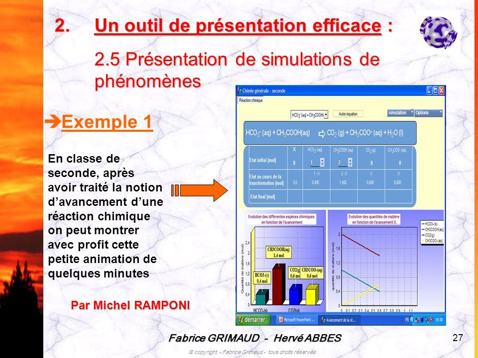 Fabrice GRIMAUD - Hervé ABBES © copyright - Fabrice Grimaud - tous droits réservés 27 Exemple 1 En classe de seconde, après avoir traité la notion dav
