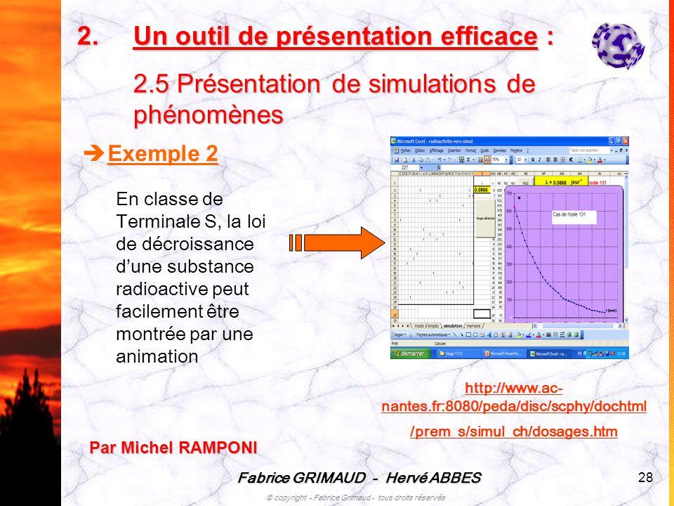 Fabrice GRIMAUD - Hervé ABBES © copyright - Fabrice Grimaud - tous droits réservés 28 Exemple 2 En classe de Terminale S, la loi de décroissance dune