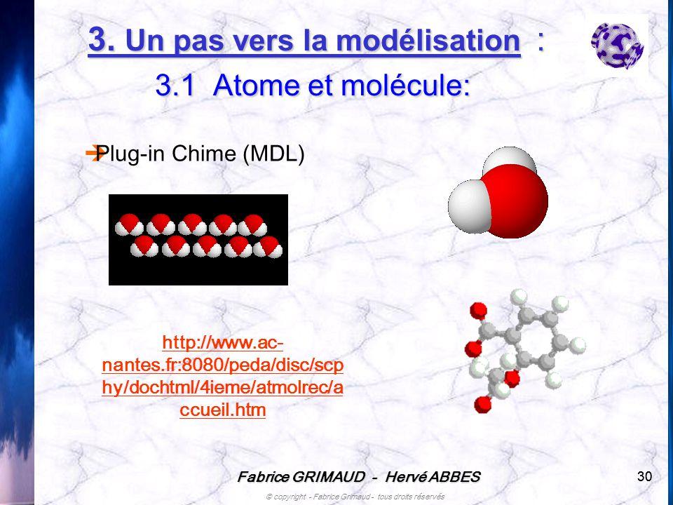 Fabrice GRIMAUD - Hervé ABBES © copyright - Fabrice Grimaud - tous droits réservés 30 3. Un pas vers la modélisation : 3.1 Atome et molécule: http://w