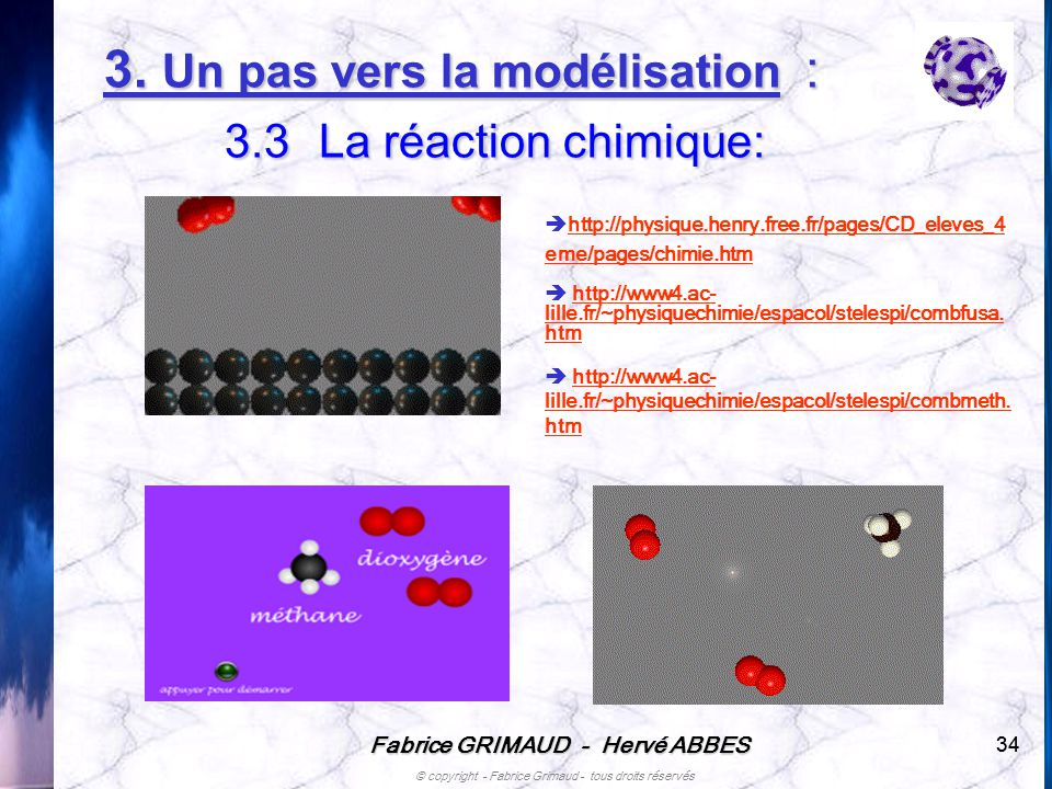 Fabrice GRIMAUD - Hervé ABBES © copyright - Fabrice Grimaud - tous droits réservés 34 http://physique.henry.free.fr/pages/CD_eleves_4 eme/pages/chimie