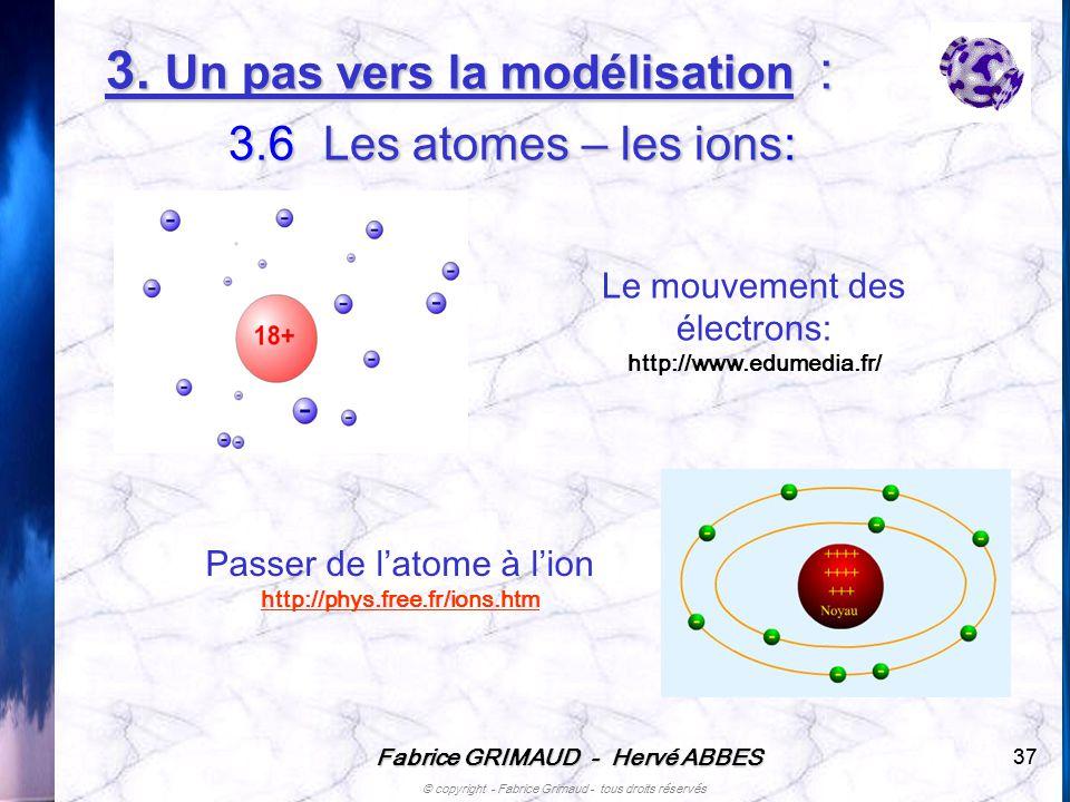Fabrice GRIMAUD - Hervé ABBES © copyright - Fabrice Grimaud - tous droits réservés 37 Le mouvement des électrons: http://www.edumedia.fr/ Passer de la