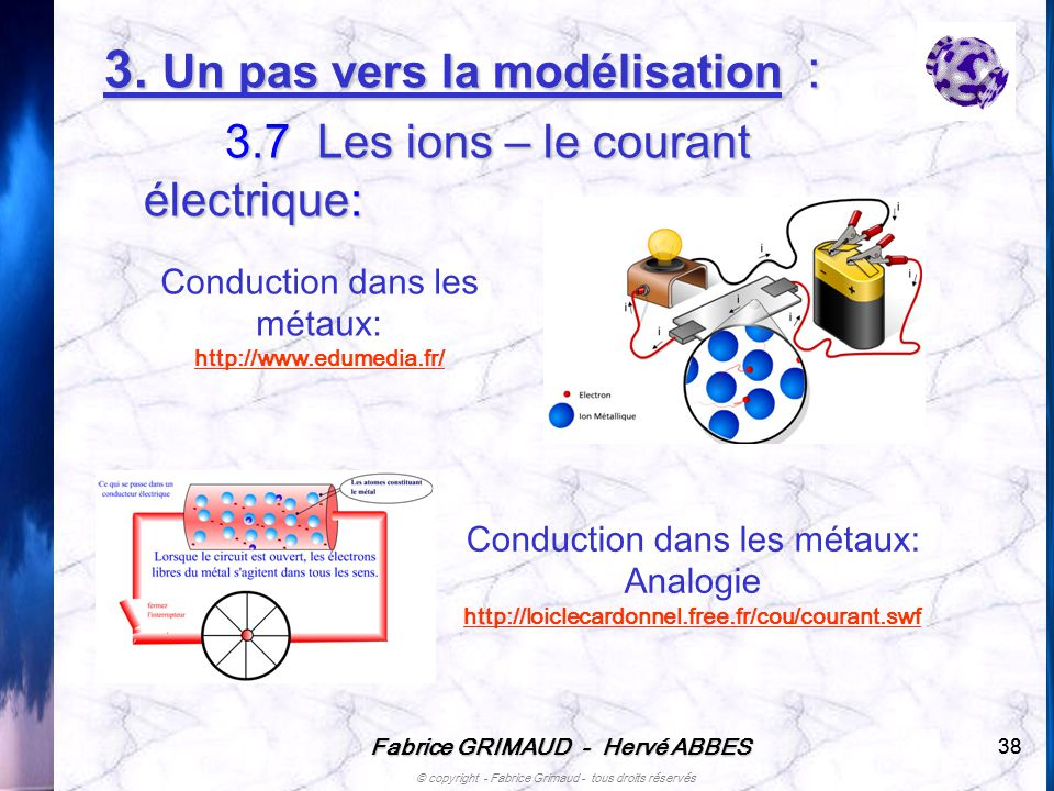Fabrice GRIMAUD - Hervé ABBES © copyright - Fabrice Grimaud - tous droits réservés 38 Conduction dans les métaux: http://www.edumedia.fr/ Conduction d