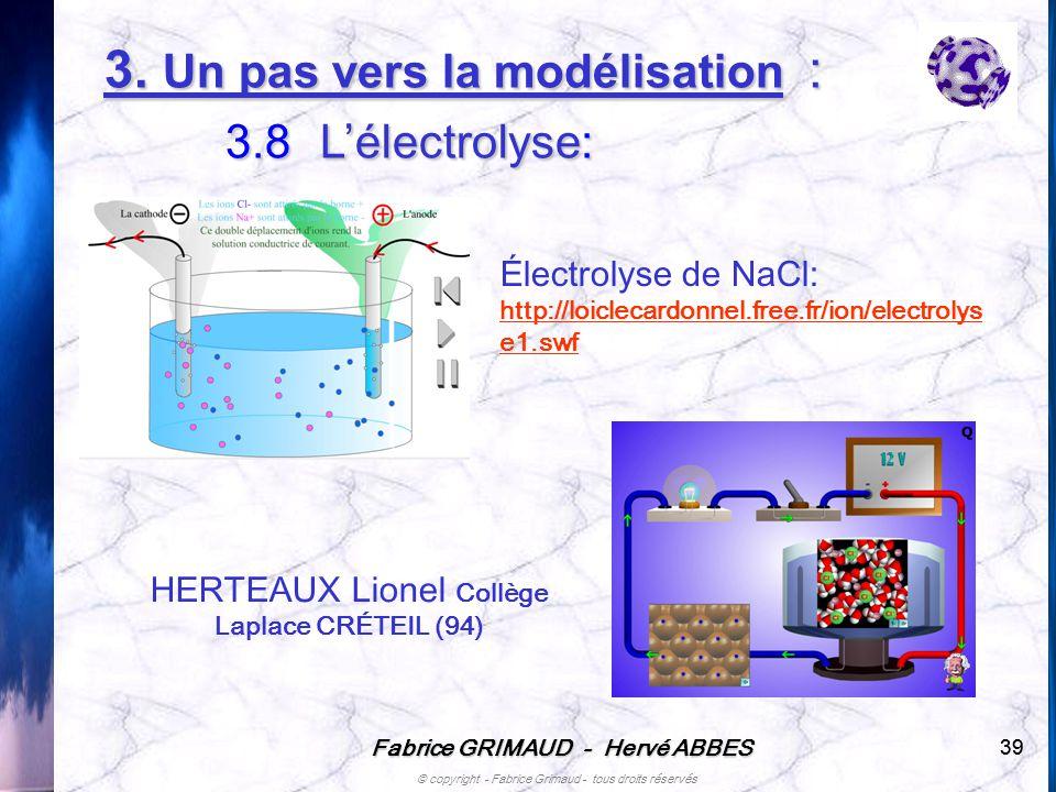 Fabrice GRIMAUD - Hervé ABBES © copyright - Fabrice Grimaud - tous droits réservés 39 Électrolyse de NaCl: http://loiclecardonnel.free.fr/ion/electrol