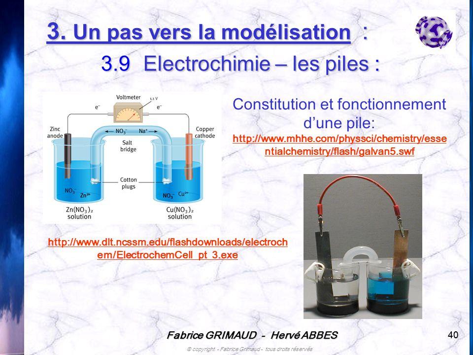 Fabrice GRIMAUD - Hervé ABBES © copyright - Fabrice Grimaud - tous droits réservés 40 Constitution et fonctionnement dune pile: http://www.mhhe.com/ph