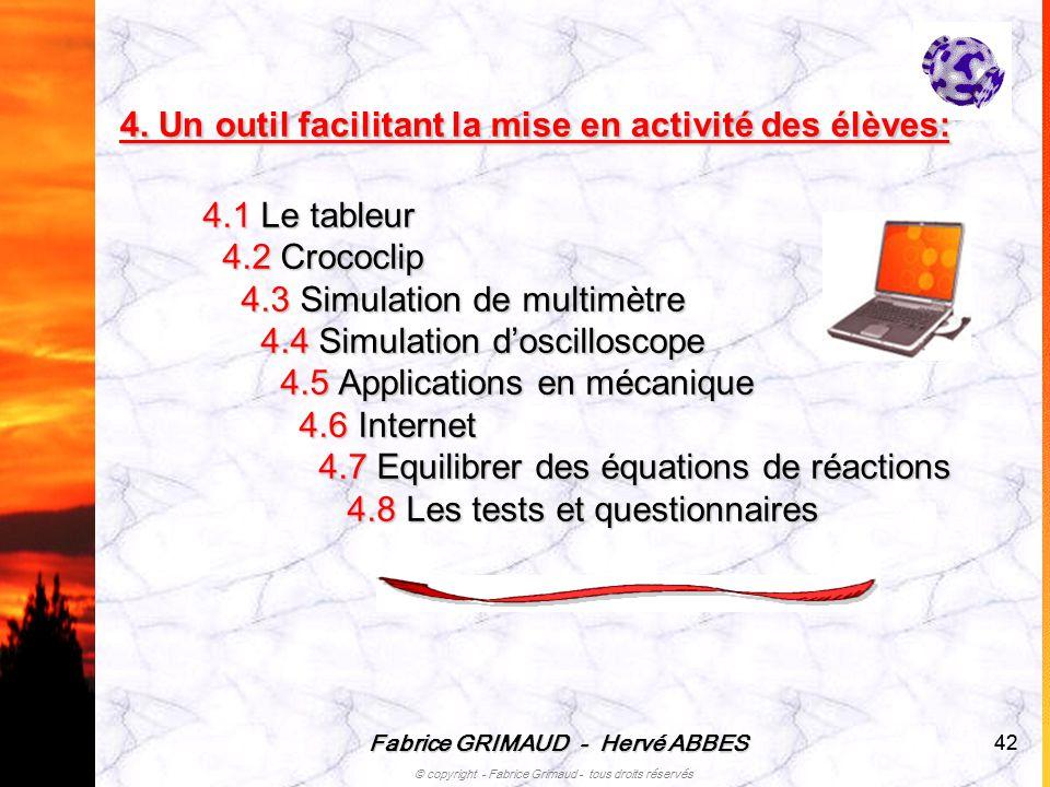 Fabrice GRIMAUD - Hervé ABBES © copyright - Fabrice Grimaud - tous droits réservés 42 4.1 Le tableur 4.2 Crococlip 4.2 Crococlip 4.3 Simulation de mul