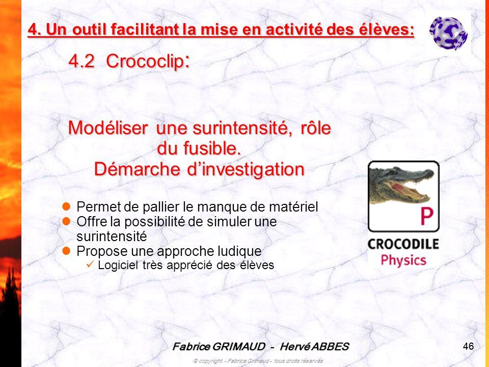 Fabrice GRIMAUD - Hervé ABBES © copyright - Fabrice Grimaud - tous droits réservés 46 Modéliser une surintensité, rôle du fusible. Démarche dinvestiga