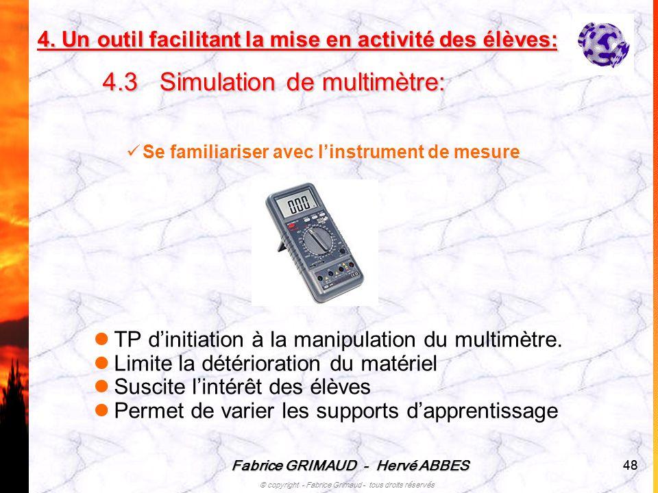 Fabrice GRIMAUD - Hervé ABBES © copyright - Fabrice Grimaud - tous droits réservés 48 Se familiariser avec linstrument de mesure TP dinitiation à la m
