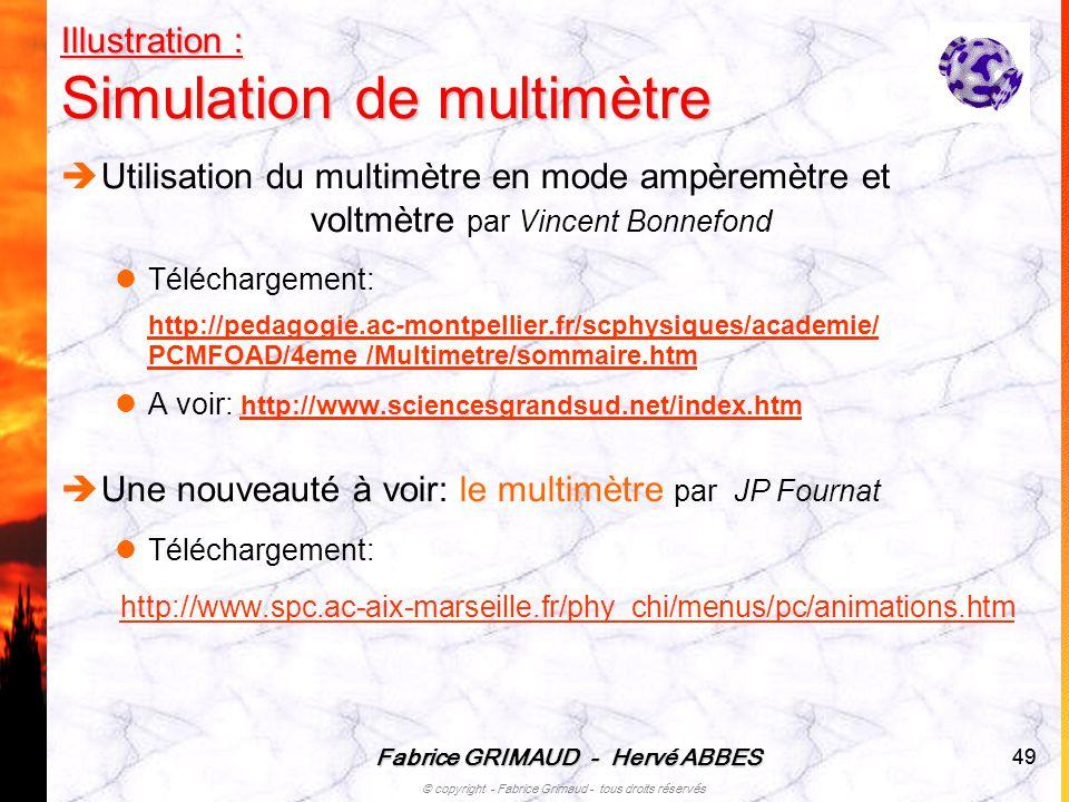 Fabrice GRIMAUD - Hervé ABBES © copyright - Fabrice Grimaud - tous droits réservés 49 Illustration : Simulation de multimètre Utilisation du multimètr
