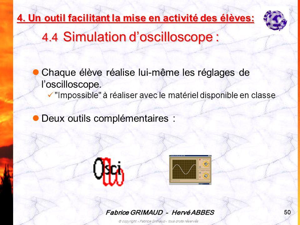 Fabrice GRIMAUD - Hervé ABBES © copyright - Fabrice Grimaud - tous droits réservés 50 Chaque élève réalise lui-même les réglages de loscilloscope.