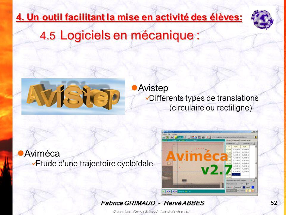 Fabrice GRIMAUD - Hervé ABBES © copyright - Fabrice Grimaud - tous droits réservés 52 Aviméca Etude d'une trajectoire cycloïdale Avistep Différents ty