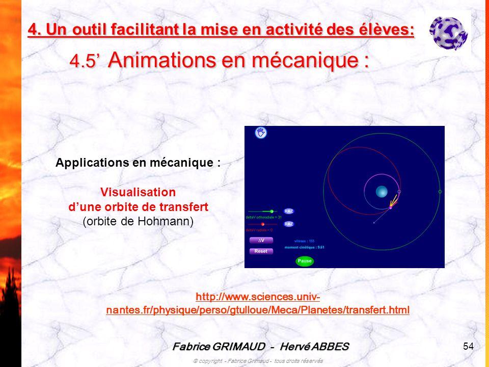 Fabrice GRIMAUD - Hervé ABBES © copyright - Fabrice Grimaud - tous droits réservés 54 Applications en mécanique : Visualisation dune orbite de transfe